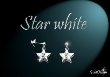 Star white - náušnice rhodium